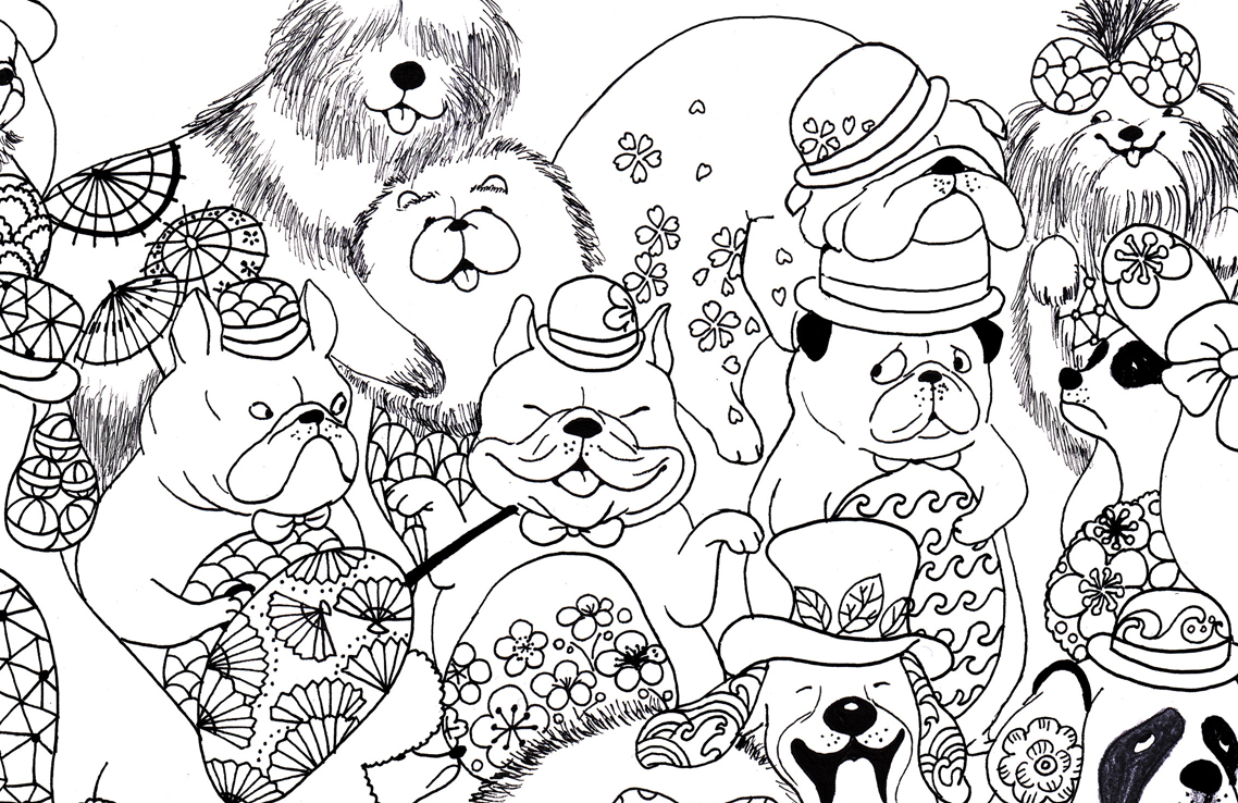 each illustration shows different dogs adventures and each dog is different - Dogs To Color