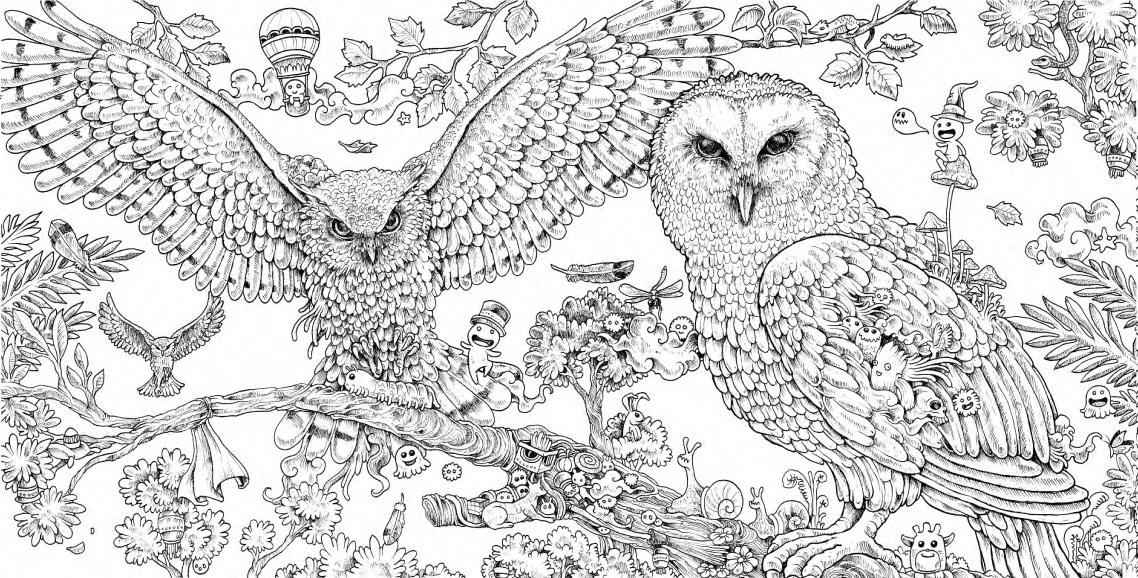 funny finished coloring book pages | Kerby Rosanes Animorphia Free Pattern Download - WHSmith Blog