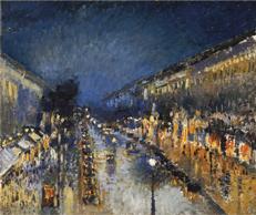Boulevard Montmartre at Night - Camille Pissarro