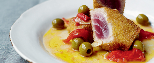 Gino D'Acampo: Semolina-Crusted Fresh Tuna Marinated in Tomatoes and Olives Recipe