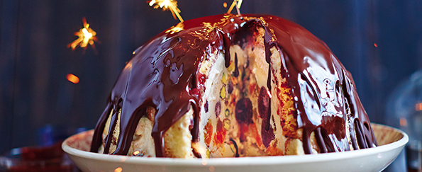 Jamie Oliver: Winter Bombe, Chocolate, Cherries, Vin Santo, Panettone & Pistachios Recipe
