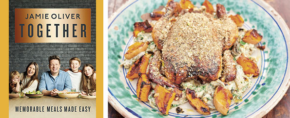 Jamie Oliver:  Dukkah Roast Chicken Warm Pomegranate Gravy Dressing Recipe