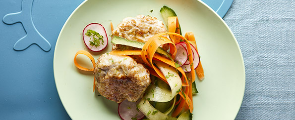 Joe Wicks: Five Spice Thai Chicken Cakes With Carrot, Cucumber and Radish Salad Recipe