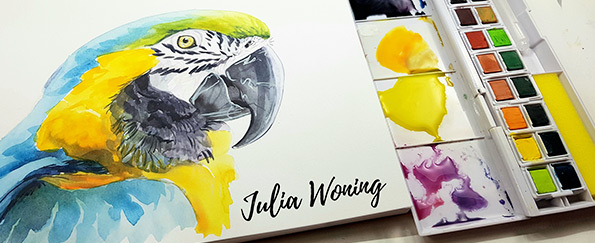 Derwent Inktense Paint Pan Set: Drawing a Macaw with Julia Woning