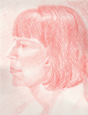 Portrait in Red Pencil