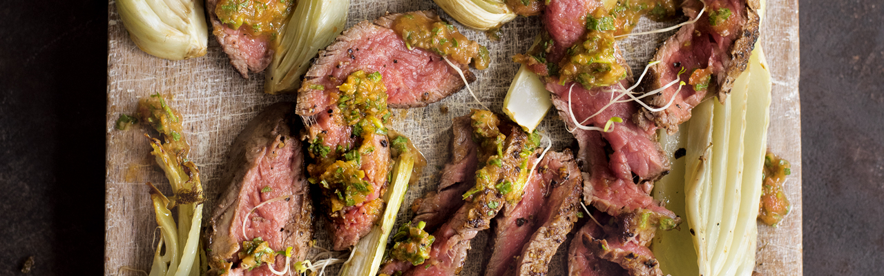 Amelia Freer: Minute Steak with Roasted Fennel and a Rocket and Caper Dressing