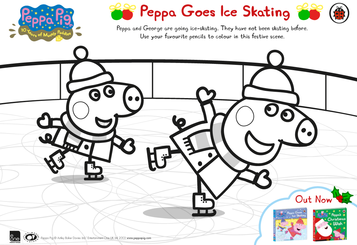 peppa pig goes ice skating free colouring download whsmith blog