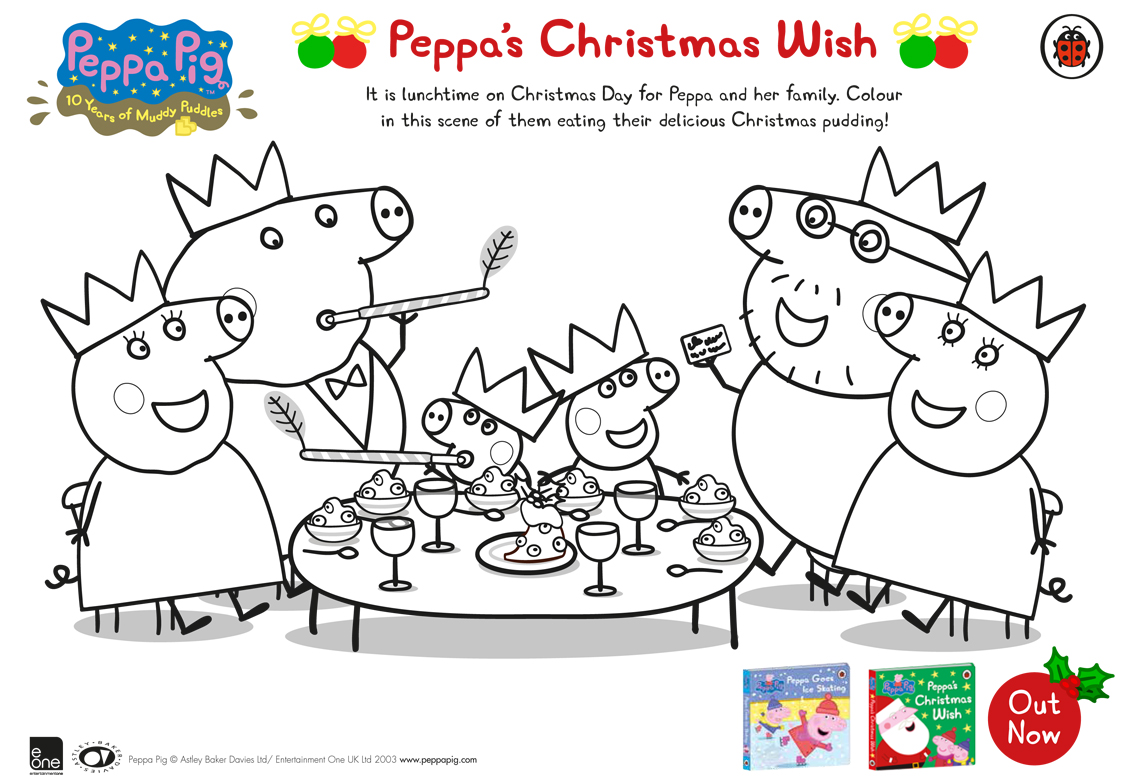 Peppa Pig: Peppa's Christmas Wish Free Colouring Download - WHSmith ...