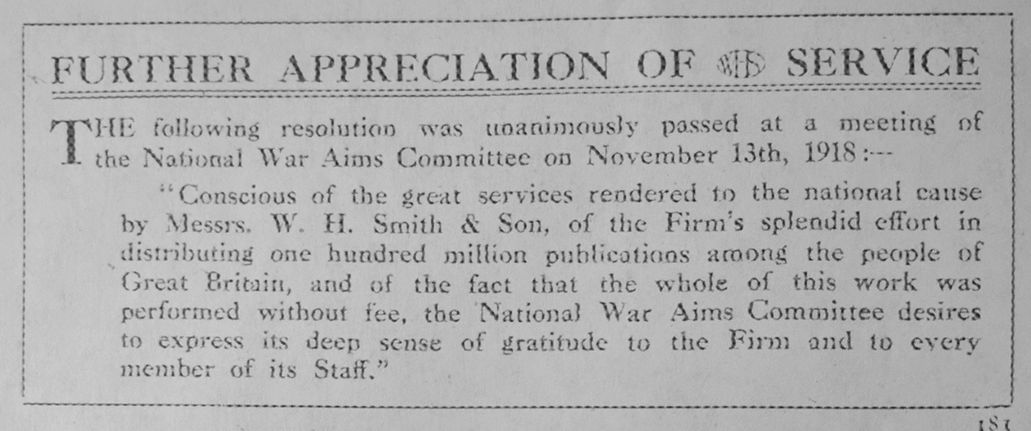 The National War Aims Committee expresses gratitude to WHSmith